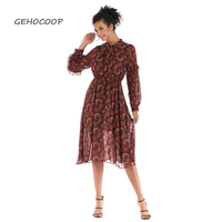 GEHOCOOP Floral Retro Chiffon Long Sleeve Dress Frocks 2019 Robe Bandage Women Elegant Vestido Casual Red O Neck Roupas Feminina
