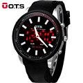 OTS Cool Black Mens 2016 Moda Rosto Grande LED Digital Ao Ar Livre Homem Esportes Relógios Luminosos relógios de Pulso de Quartzo Hodinky Militar