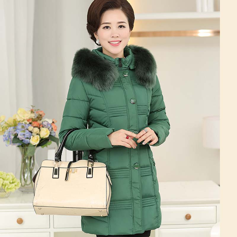 2018 bourgogne Femmes Mère vert Chargé Femme Moyen kaki Clair De D'âge Veste Taille P201810044 Longue Coton Manteau Noir Nouvelle Grande rrxA1