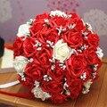 2017 Дешевые Свадебные/Невесты Свадебный Букет Новый Красный и Кот Роуз Ручной Искусственный Цветок Букеты де mariage рамо де ла бода