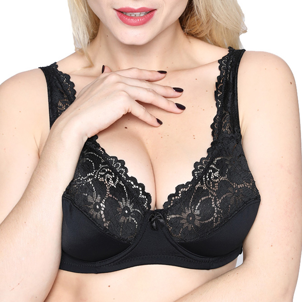 89ed4a78ea Womens Bra Lace Brassiere Sexy Lingerie BH Underwired Embroidered Plus Size  Bralette Top Underwear 34 34-46 B C D DD E F Cup