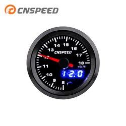 """CNSPEED 2 """"52mm 7 kolorów LED samochodów Auto woltomierz 8 18 woltomierz analogowy/cyfrowy podwójny wyświetlacz wskaźnik napięcia YC101435 w Woltomierze od Samochody i motocykle na"""