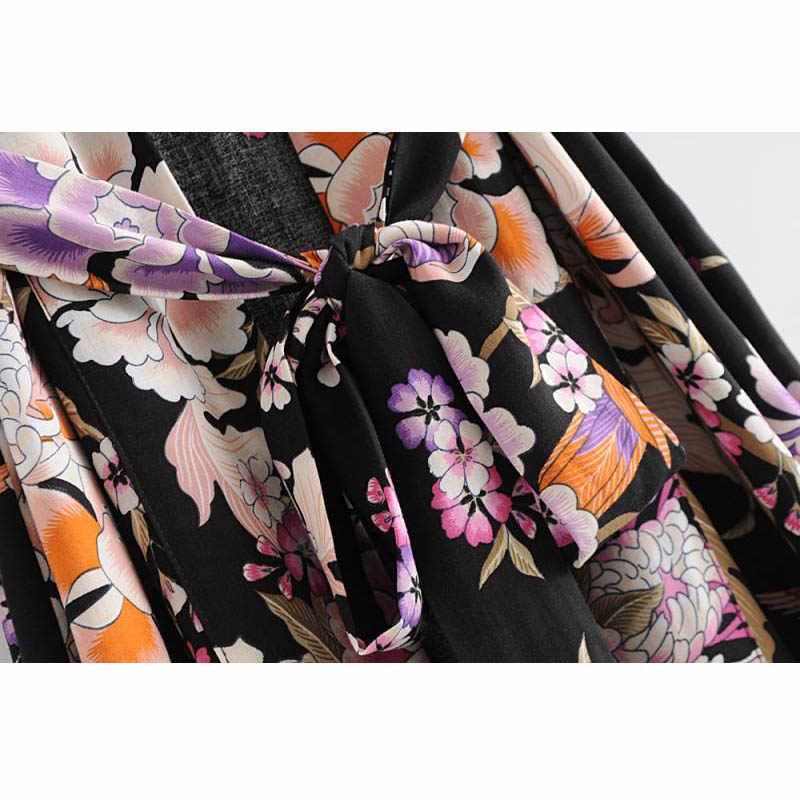 2019 богемный цветочный длинное кимоно для женщин пляжный кардиган Женская одежда рукав «летучая мышь» свободные пляжные вечерние кимоно