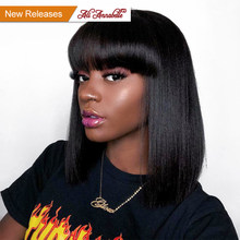 ALI ANNABELLE Brazilian Straight Lace Front Human Hair Wig 13*4 Straight Short Bob Wigs Natural Hairline 150% Density Wigs Remy(China)