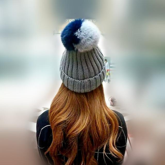 New Autumn Winter women cap real fox fur ball hat Pom poms woollen cap knitted cotton beanies cap brand new thick female