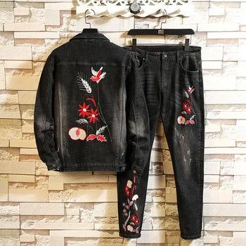 цена на 21019 European Designed Men Denim Set Embroidery Rural Style Black Slim Jeans Jacket Floral Skinny Man Jean Pant Quality