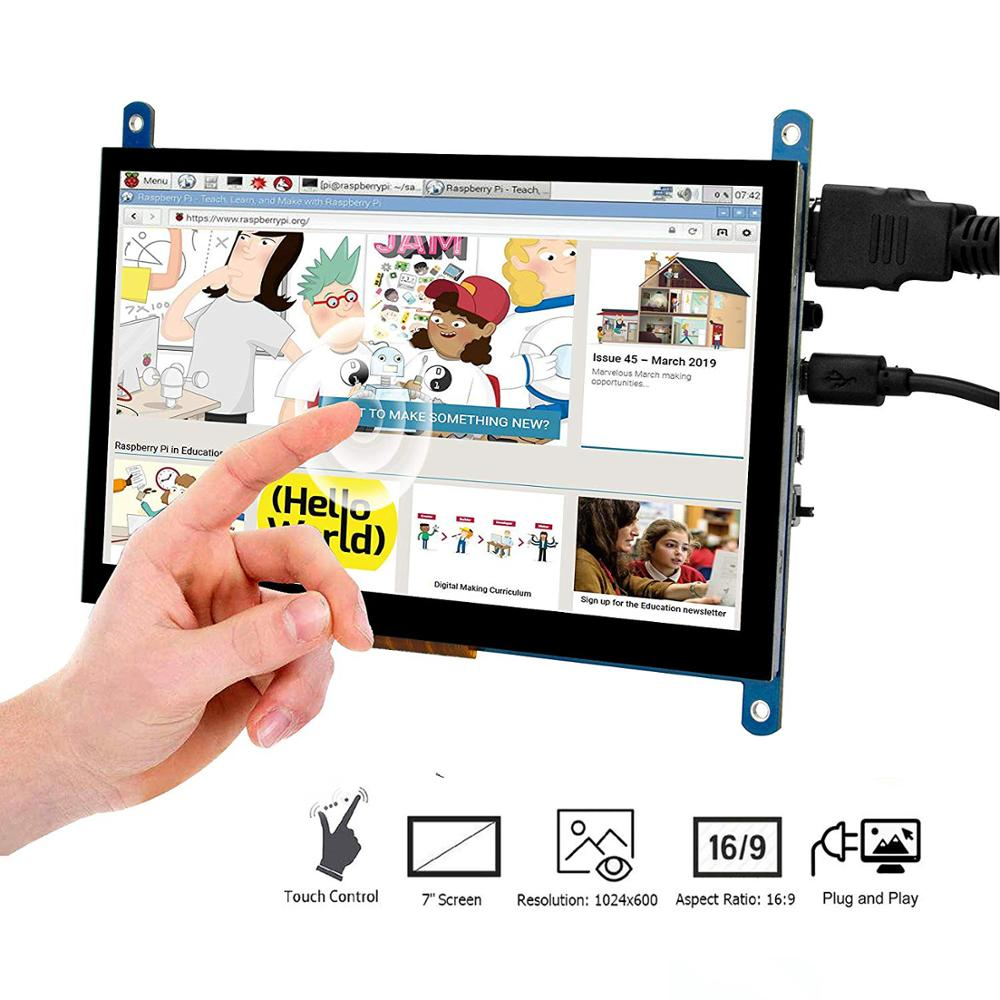 7 Inch <font><b>HDMI</b></font> TFT Touch Screen LCD <font><b>Display</b></font> Monitor HD 1024x600 for <font><b>Raspberry</b></font> <font><b>Pi</b></font> 3 Model B + <font><b>Pi</b></font> 4 Computer TV Box DVR Game Device image