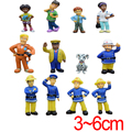 12pcs/set Movie & TV Fireman Sam Action Figure Toys Cute Cartoon PVC Model Dolls Collection Toy For Kids Birthday Gift 3-6cm