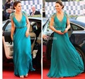 2014 Hot Sale Elegant Celebrity Dresses Lace Short Sleeves V Neck Floor Length Chiffon Beaded Sashes Evening Dresses XY206