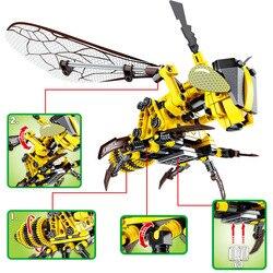 Blocos de construção simulação inseto mão abelha dragonfly puzzle diy montado feitiço inserido descompressão clicando bloco brinquedos