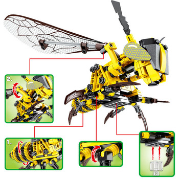 new blocks Simulation Insect Hand Bee Dragonfly Puzzle DIY Assembled Spell Inserted Decompression Clicking Building Block