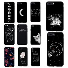 Case For P Smart Cover Painted Pattern Stars Matte Cover For Coque Huawei P8 p9 lite 2017 10 p10 lite Cover Back(China)