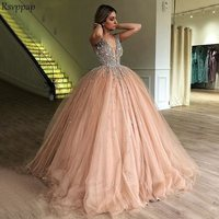 Puffy Ball Gown V neck Luxury Heavy Beading Top Sweet 16 Sixteen Girls Quinceanera Dresses 2020