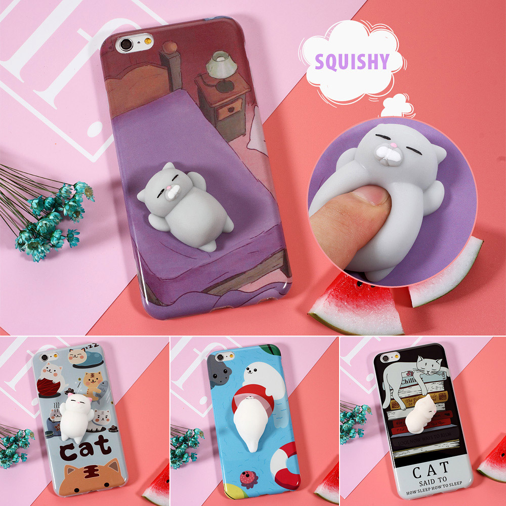 Цена за Для iPhone 6 6S 7 7 Plus 6S плюс телефон случае мягкими животных Забавный 3D Soft снятие стресса мягкая кожа Матовый ТПУ назад Cute крышку