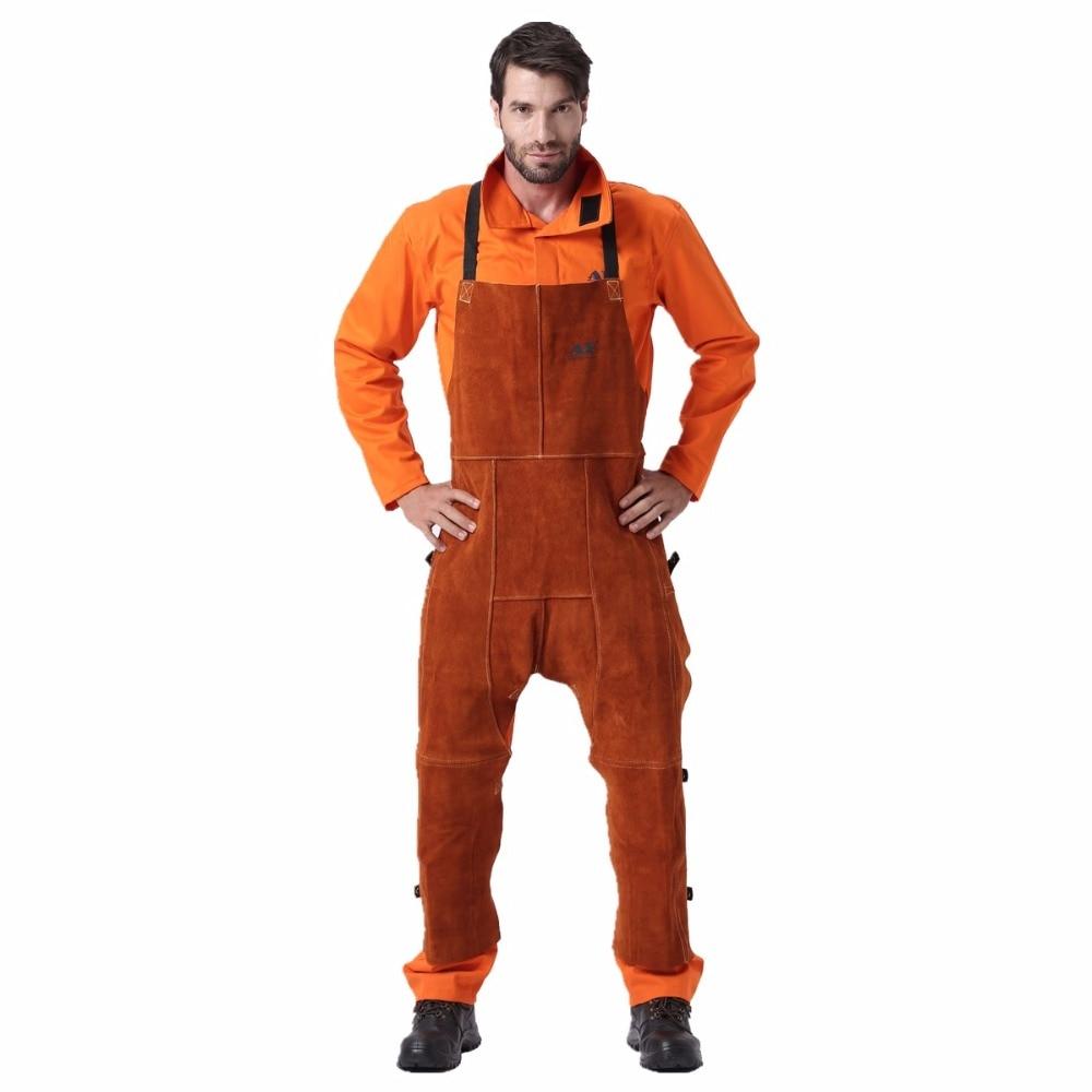 Pantalones y peto para trabajos de soldadura en cuero