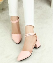 New Arrival 2016 Summer Women European Style Buckle Comfortable High Heels Wedding white/pink Party Sandals Shoes Size 35-39 478