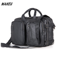 Real Genuine Leather Briefcases 15 Inch Laptop Casual Handbag Handmade Cowhide Shoulder Bag Mutiple Function Backpack