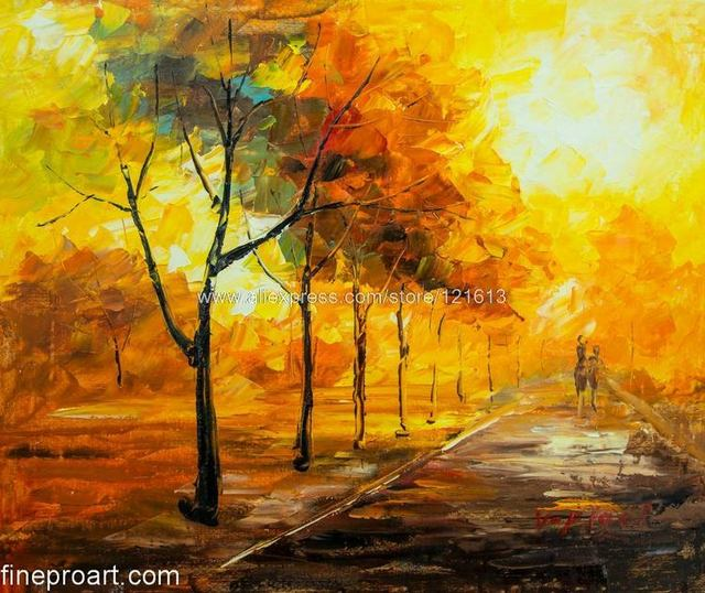warm autumn day modern art vibrant rich texture oil painting on