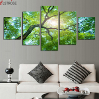 5 Piece Green Trees Modern Home Wall Decor Canvas Picture Art HD Print Painting On Canvas