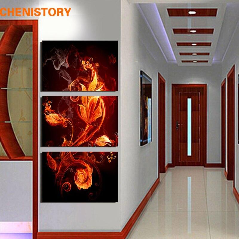 Unframed 3 Панель огонь абстрактные цветы современный дом Настенный декор Холсты для рисования принт Книги по искусству живопись для прихожей у...