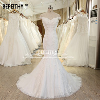 Новый Дизайн Русалка свадебное платье пикантные с открытыми плечами Robe De Mariage бисером Кружево Свадебные Платья для женщин Vestido De Novia свадебн