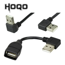 W górę w dół lewego prawego pod kątem 90 stopni USB rozszerzenie męskie i żeńskie kabel USB macho hembra typ A M/F przewód adaptera krótki 10cm 20cm