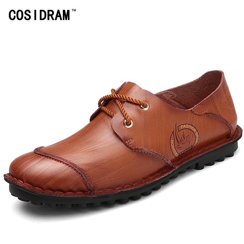 COSIDRAM Genuine Leather Men Flats Soft Bottom Fashion AAA Men Casual Shoes New 2017 Autumn Men Shoes Male Footwear RMC-014 men casual shoes genuine leather fashion moccasins men flats loafers soft bottom leisure driving shoes male footwear rmc 411