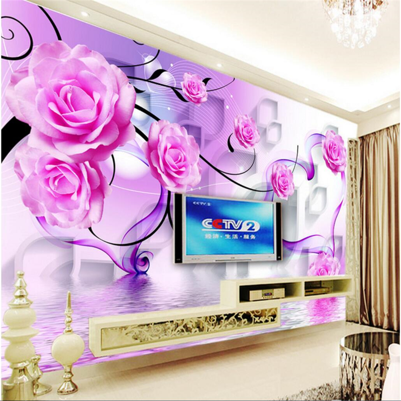 beibehang Custom photo wall stickers 3D roses reflection stereo TV background wall papel de parede wallpaper for walls 3 d