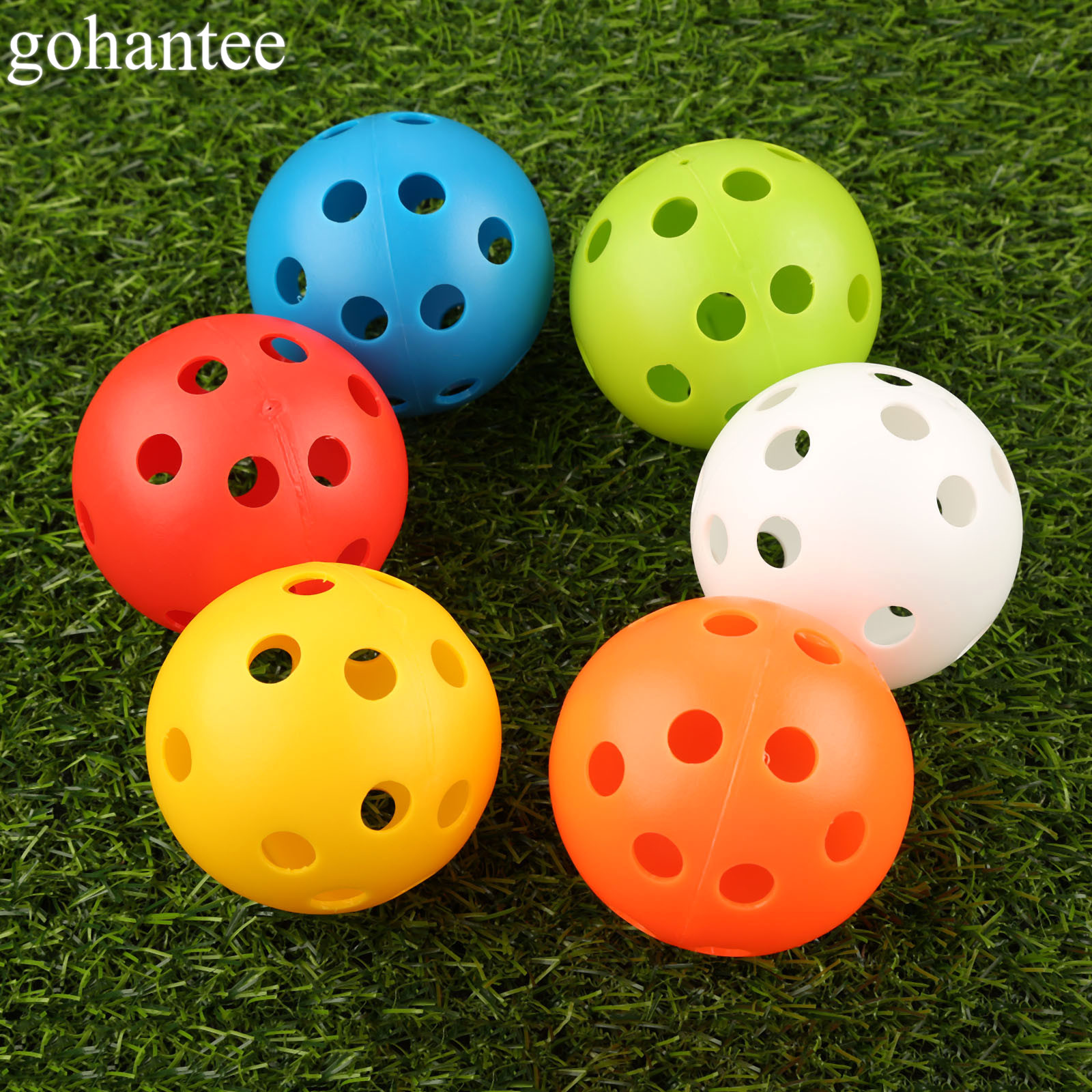 Gohantee 10Pcs 72mm Golf Training Balls Plastic Airflow Hollow With Hole Golf Balls Outdoor Golf Practice Balls Golf Accessories
