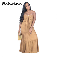 купить Echoine Off Shoulder Long Dress Strapless Front Tie Backless Women Summer Beach Dress 2019 Vestido Plus Size 2XL 3 Solid Color по цене 1266.25 рублей
