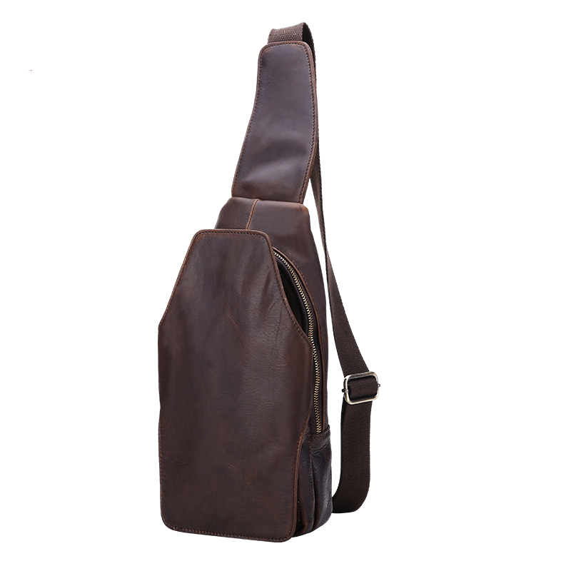 Genuine Leather Men Chest Bag Retro Messenger Shoulder Bags Male Crazy Horse Cowhide Casual Male Sling