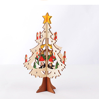 Christmas Decorations Carved Wooden Christmas Tree Snowman Desktop Brown Deer Elk Santa Claus Party Supplies Home
