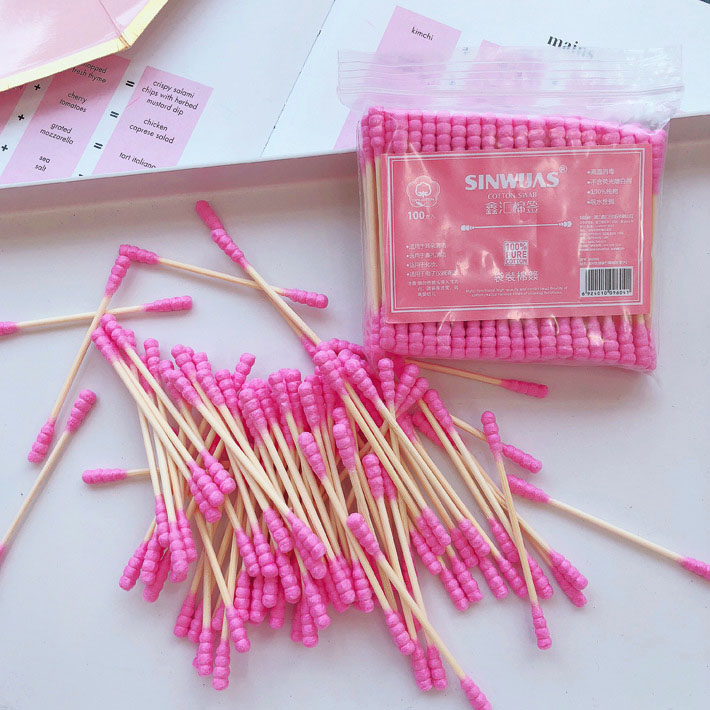 100 Pcs/Pack Pink Double Head Cotton Swab Sticks Female Makeup RemoverCotton Buds Tip For Medical Nose Ears Cleaning