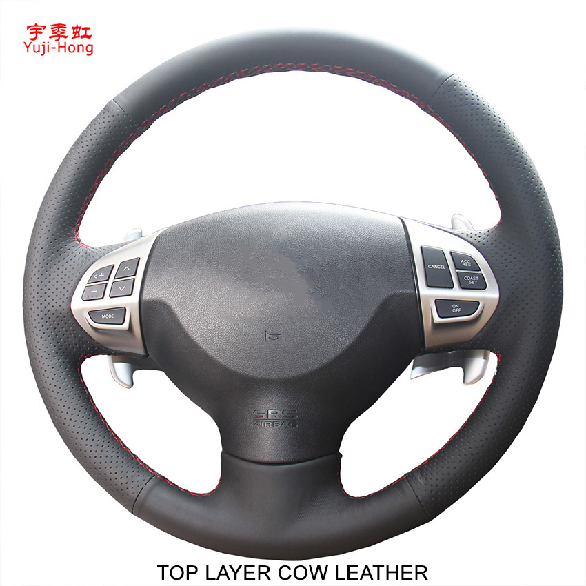 Yuji Hong Top Layer Genuine Cow Leather Car Steering Covers Case for Mitsubishi Lancer EX ASX