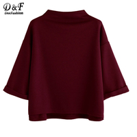Dotfashion Burgundy Mock Neck High Low Cuffed Tee Shirt Woman 2017 Autumn 3 4 Sleeve Casual
