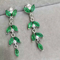925 sterling silver with natural emerald eardrop of earrings