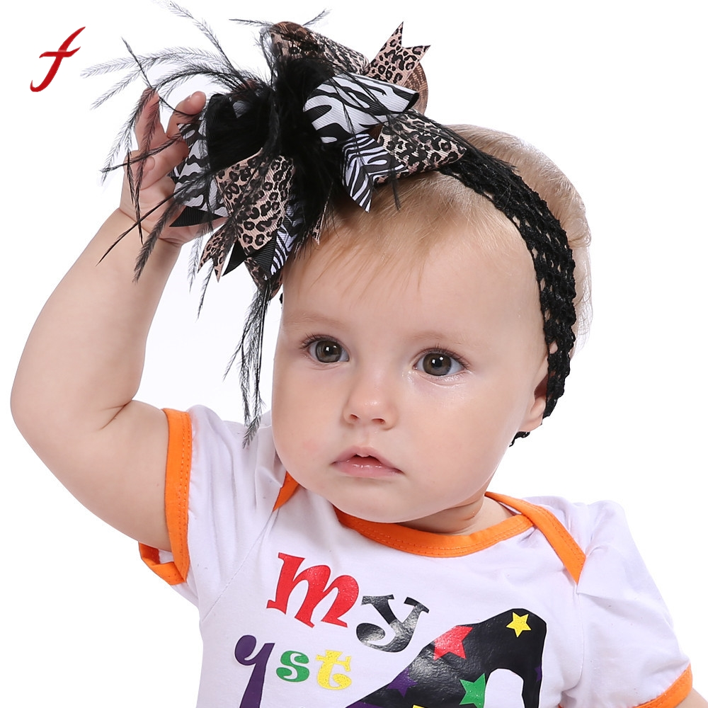 2017 Fashion Halloween Hair bands Toddler baby Kids Girls Feather Bowknot Hairpin Headdress hair accessories for women flowers
