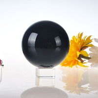 80mm Black Asian Quartz feng shui ball Crystal Ball with base Sphere Fashion Table Decor Good Luck Ball Free Shipping