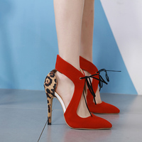 Kmeioo A New Spring Model Shoes Pointed Toe High Heels Leopard Sandals Lace Up Thin Heels Women Party Evening Prom S