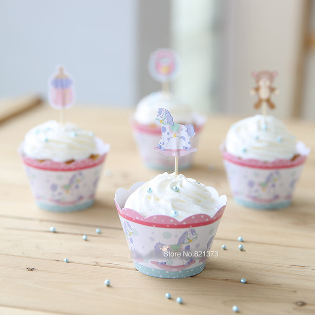Cute Lovely Baby Shower Favors Kids Party Decorations Cheap Paper Cupcake  Wrappers Cups Cake Toppers Picks