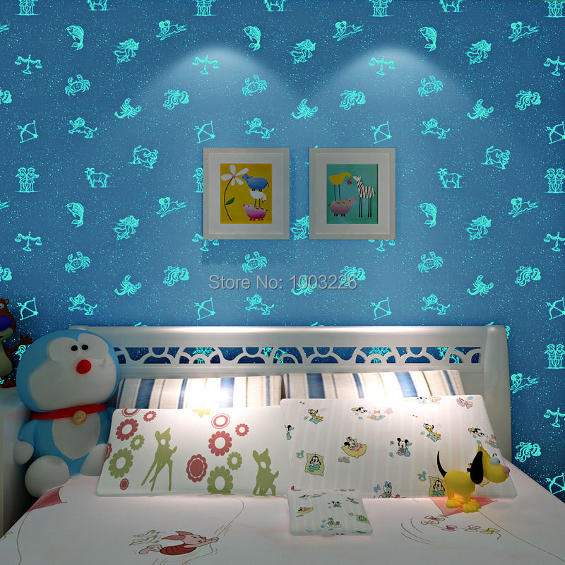 ФОТО beibehang Wallpaper  Kids Bedroom Boys Girls Living Room Non-woven 3D Wall Papers Night Light Blue Pinkpapel de parede para sala