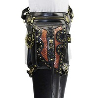 Black PU Leather Rivet Steampunk Leg Holster Waist Bag Gothic Shoulder Messenger Bags Punk Rock Corsets