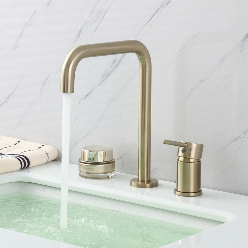 Bathroom Faucet Basin Mixer Faucet Gold Brushed Brass Single Handle Two Hole Basin Mixer Hot & Cold Water Taps Wash Basin Faucet