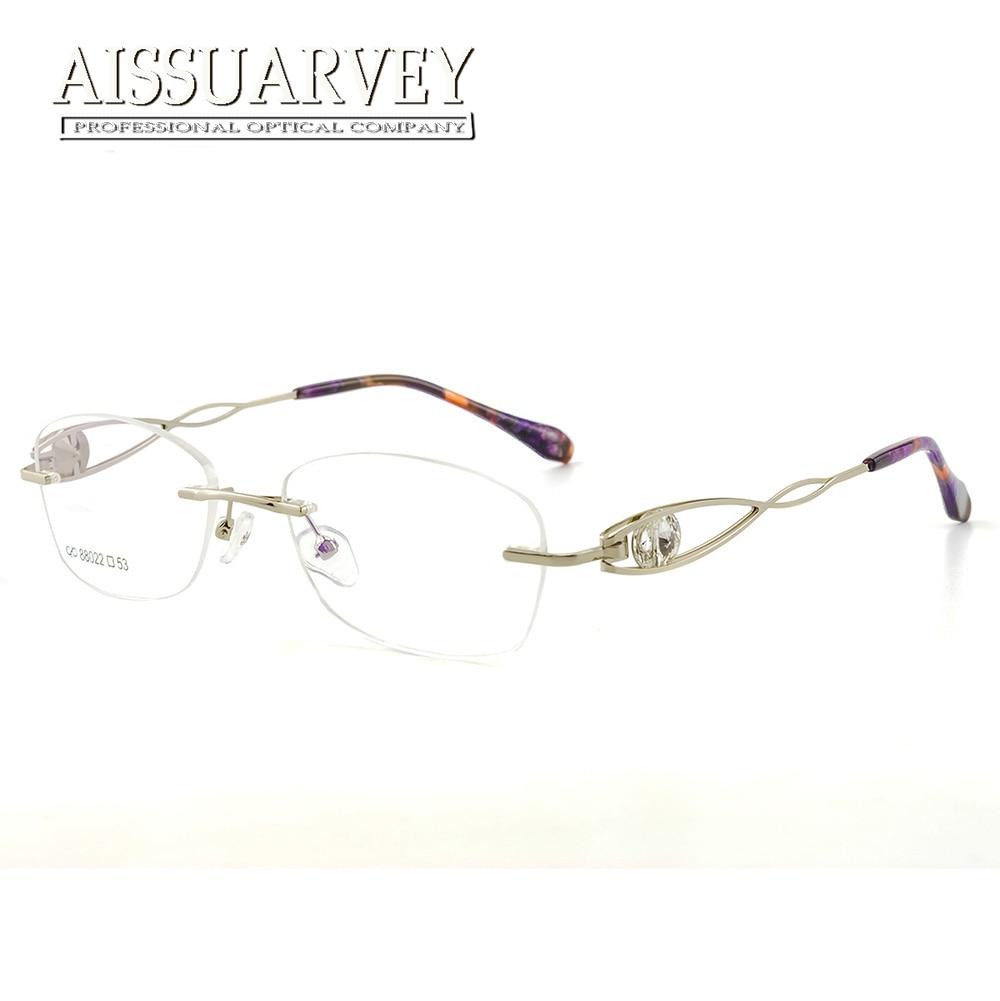 67dd6e30f82 Rhinestone Diamonds Rimless Eyeglasses Frames Women Optical Glasses Luxury Prescription  Brand Designer Top Quality Eyewear New-in Eyewear Frames from ...