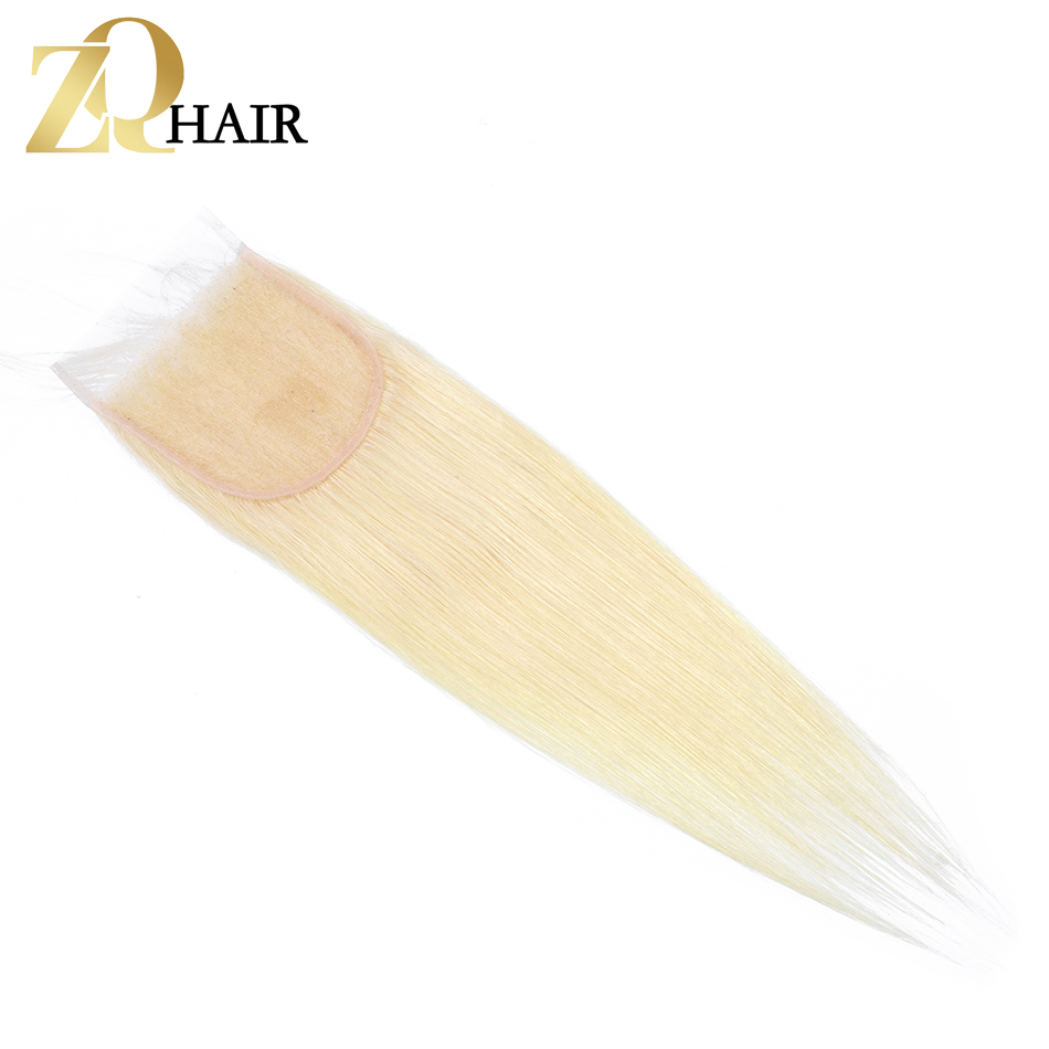 ZQ HAIR Peruvian Straight Hair 100% Human Hair With 4*4 Lace Closure Wave Pre-colored Ombre Color #613 Non Remy Free Shipping