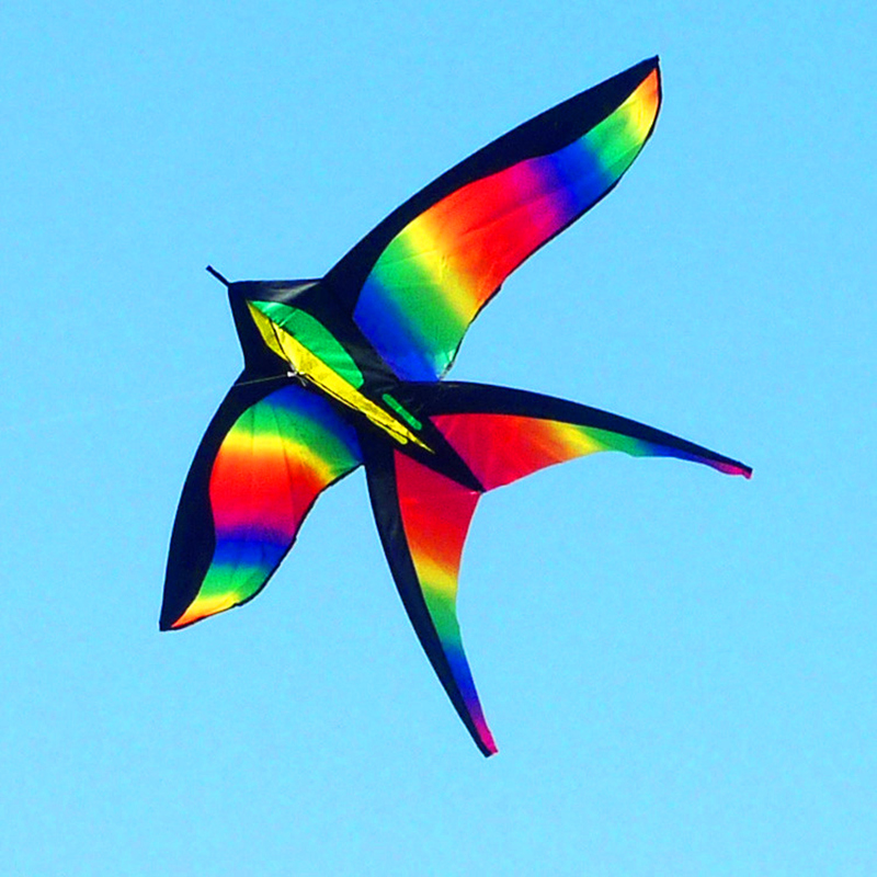 free shipping rainbow bird kite flying line ripstop nylon fabric outdoor toys child kite wholesale weifang
