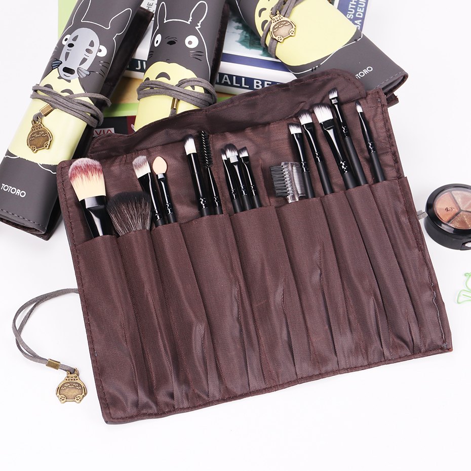 My Neighbor Totoro PU Leather Makeup Brushes Bag Cosmetics Case Brushes Protect Pouch 9 Slots Storage Bag Gift