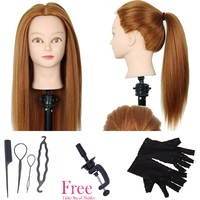 CAMMITEVER Synthetic Hair Hairdressing Equipment Styling Head Doll Mannequin Training Head Tools Braiding Cutting with Gifts