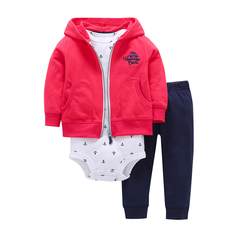 2018 Bebes Baby Girls Clothes Set bebes Cotton Hooded Red Cardigan+Pants+Bodysuit 3 Pcs Sets Newborn Girl Clothing Outfit