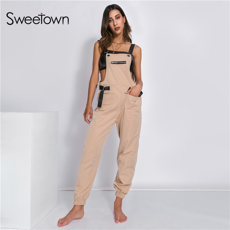 Sweetown Casual Off Shoulder Strapless Jumpsuit Korean ...
